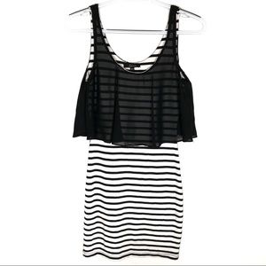 Soprano Black Striped Dress with Sheer Overlay XS